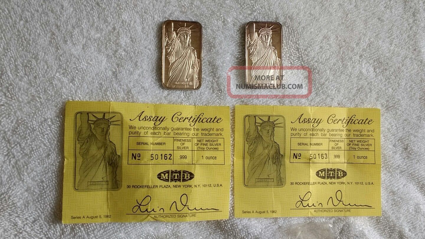 1982 Silver Ingots With Assay Certificates 999 Pure