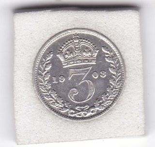 1903 King Edward Vii Threepence (3d) Solid Silver (92.  5) Coin photo