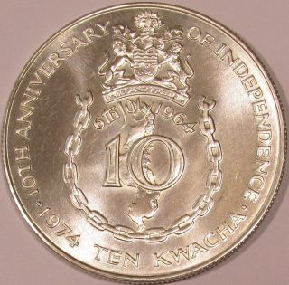 1974 Malawi Bu Sterling Silver 10 Kwacha - 10th Anniv.  Of Independence - Km 13 photo
