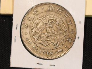1895 (yr.  28) Japan 1 Yen Silver Coin Y A25.  3 In Vf - Us photo