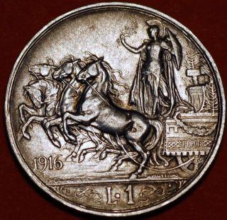 Italy.  1 Lira 1916 Vittorio Emanuele Iii.  Silver Coin.  Km 57.  Rare photo
