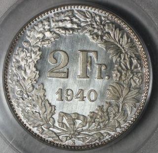 1940 Pcgs Sp 66 Ogh Switzerland Silver 2 Francs Gem Bu Specimen Coin (16111820c) photo