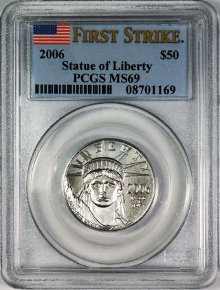 2006 $50 American Platinum Eagle Pcgs Ms69 First Strike photo