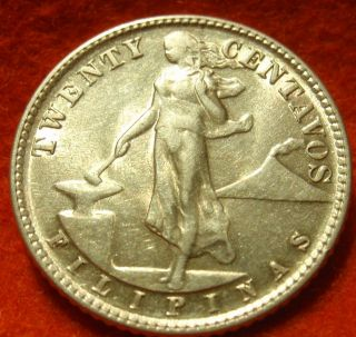 1944 D Au - Unc Philippines,  Twenty 20 Centavo,  Km 181 Usa Minted Coin photo