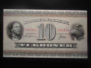 1972 Oj Denmark 10 Kroner Replacement Note photo