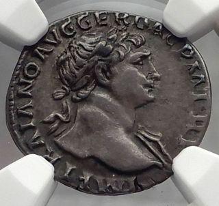 Trajan 103ad Rome Pax Authentic Ancient Silver Roman Denarius Coin Ngc I59806 photo