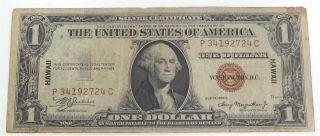 Us $1 Small Size Silver Certificate Hawaii Emergency Note Series 1935a Circ. photo