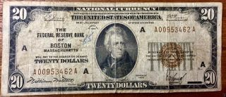 1929 A $20 U.  S.  (boston,  Ma) Federal Reserve Bank Note photo