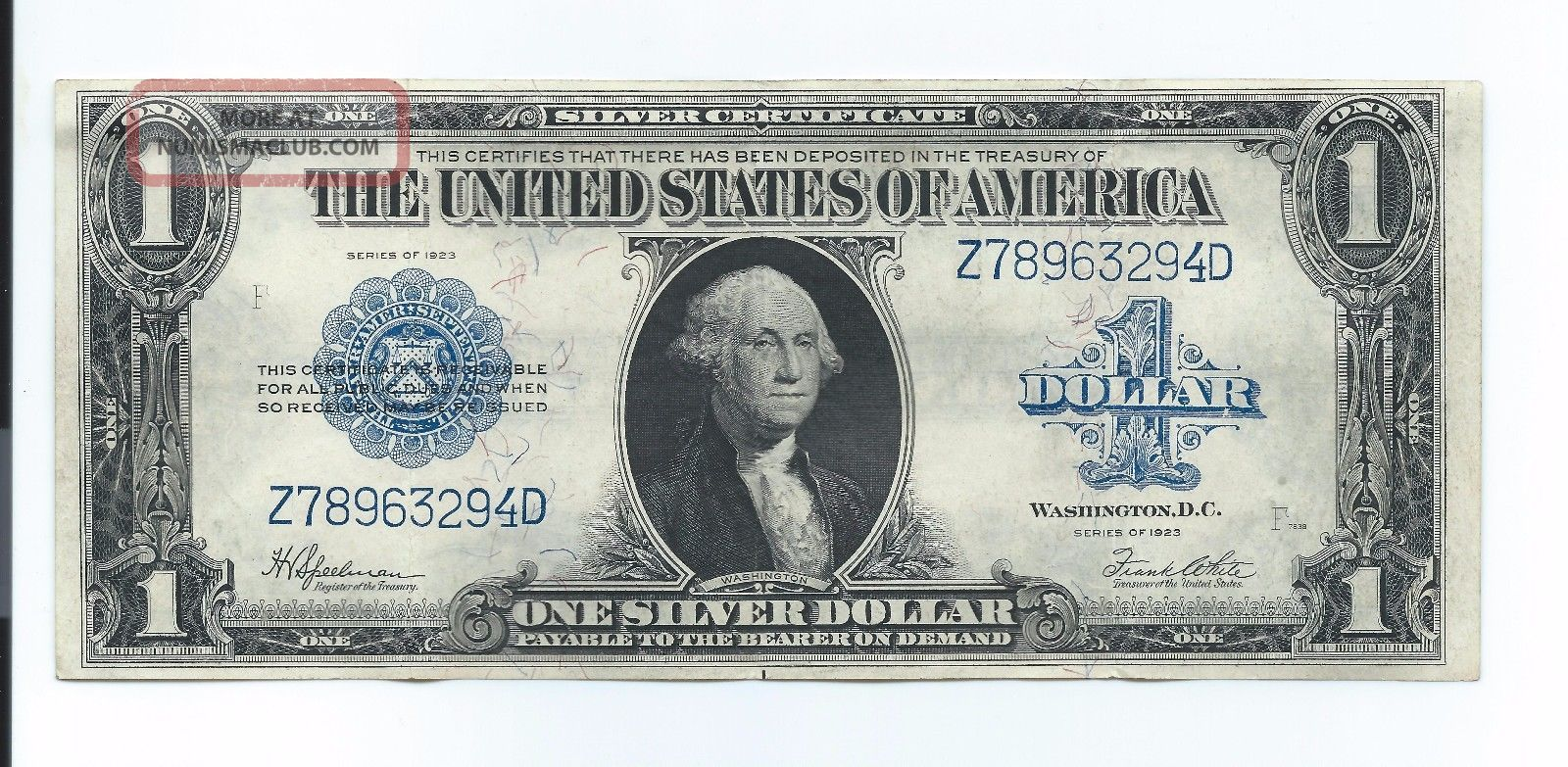 Series 1923 $1 One Dollar Silver Certificate Large Size Note Very Large Size Notes photo