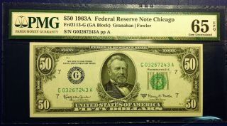 $50 1963a Frn Fr - 2113 - G Chicago Pmg65 Gem Uncirculated photo