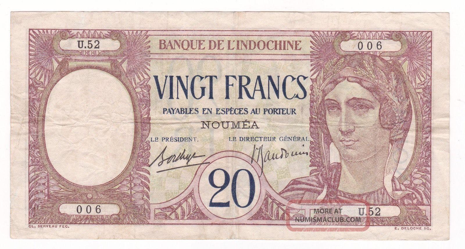 Caledonia: Banknote - 20 Francs 1929 - Grade Australia & Oceania photo