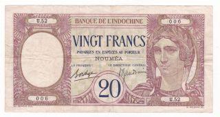 Caledonia: Banknote - 20 Francs 1929 - Grade photo