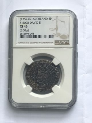 Scotland David Ii 1357 - 67 Groat Ngc Xf 45 photo