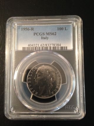 Italy 100 Lire 1956 Pcgs Ms 62 photo