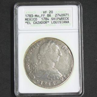 1783 Silver Spanish 8 Reale Carolus Iii El Cazador Anacs Vf20 J48 photo