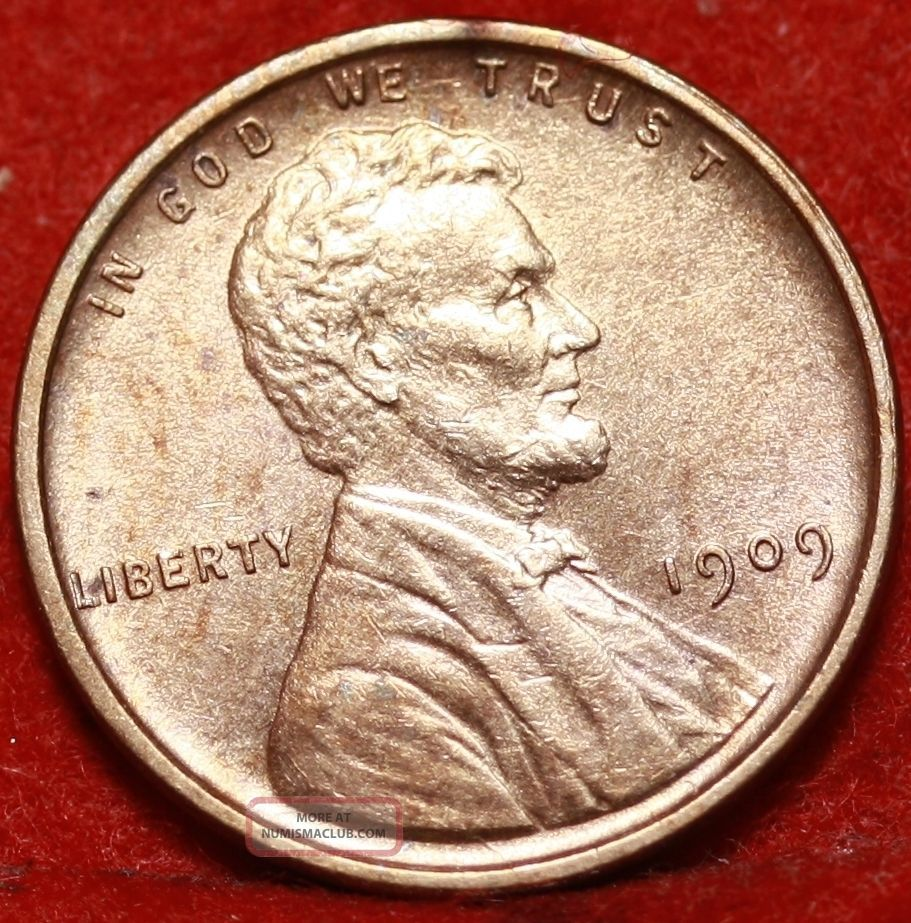 Uncirculated 1909 Vdb Philadelphia Copper Lincoln Wheat Cent S/h Small Cents photo