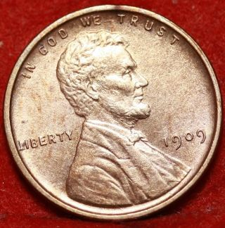 Uncirculated 1909 Vdb Philadelphia Copper Lincoln Wheat Cent S/h photo