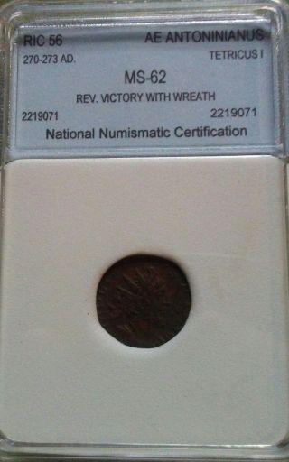 270 - 273 Ad.  Ric 56 Ae Antoninianus Tetricus I Rev - Victory W/wreath State photo