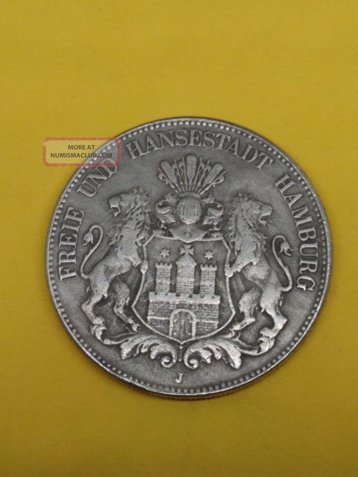 Freie Und Hansestadt Hamburg Deutsches Reich 1903 Funf Mark Coins: World photo