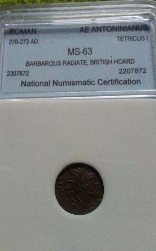 Roman 270 - 273 Ad Ae Antoninianus Tetricus I Barbarous Radiate British Hoard Ms, photo
