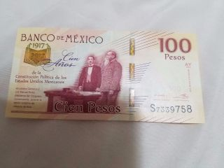 1917 2017 100 Mexican Pesos Bank Note Commemorative Bill 100 Years Anniversary photo