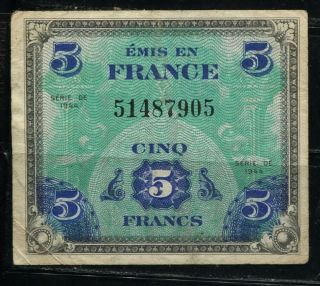 Paper Money France 1944 5 Francs Military Issue 5148790 photo