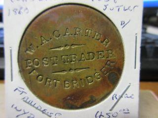 (1880 ' S))  W A Carter Post Trader Fort Bridger Wy Terr.  Gf 1.  00 Token Brass 39mm photo