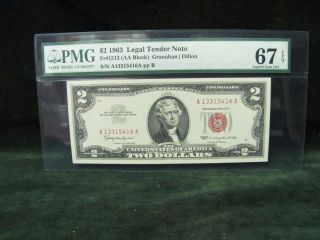 $2 1963 Legal Tender Note - Pmg 67 Epq - Gem Uncirculated photo