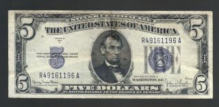$5 1934d Large Blue Seal Usa Silver Certificate Lincoln Depression Vintage Bill6 photo