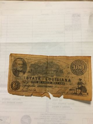 1863 $100 The State Of Louisiana Shreveport photo
