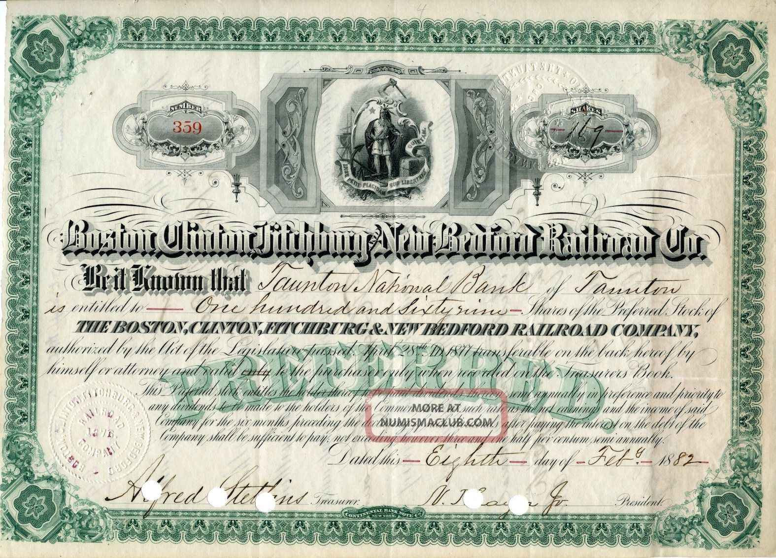 Boston,  Clinton,  Fitchburg,  And Bedford Rr Company Stock Certificate,  1882 Transportation photo