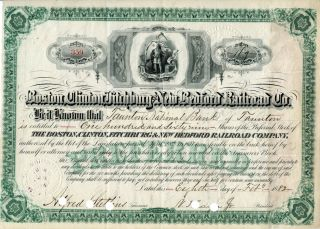 Boston,  Clinton,  Fitchburg,  And Bedford Rr Company Stock Certificate,  1882 photo