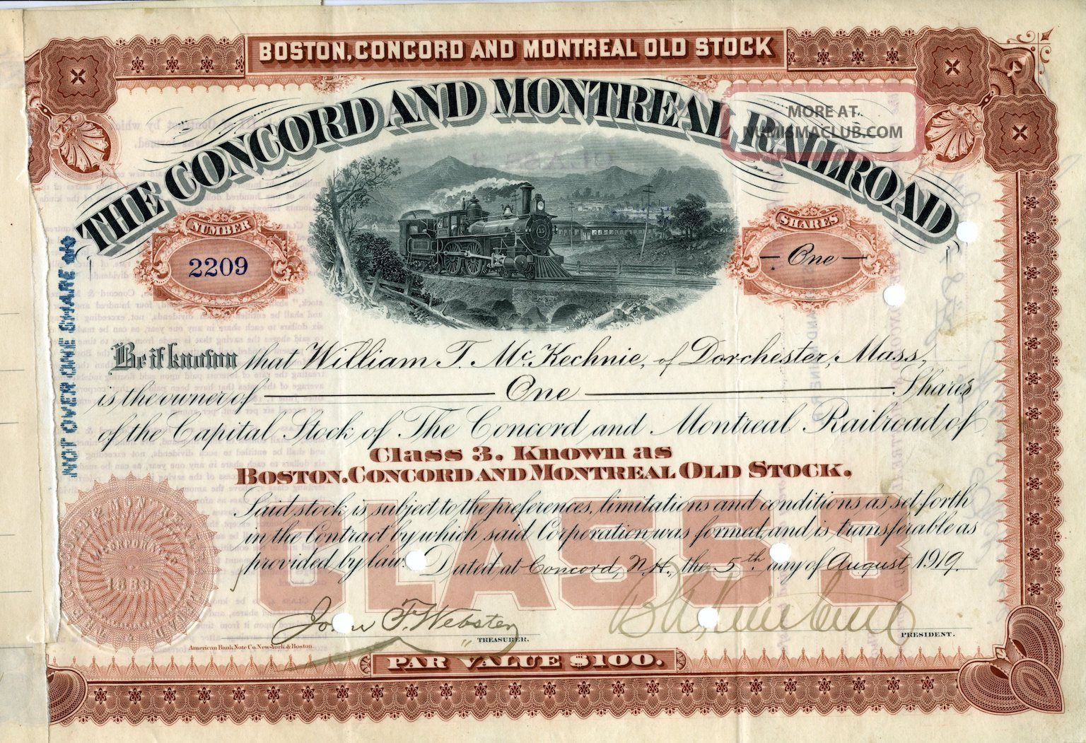 The Concord And Montreal Stock Certificate,  1919 Transportation photo