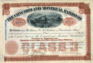 The Concord And Montreal Stock Certificate,  1919 photo