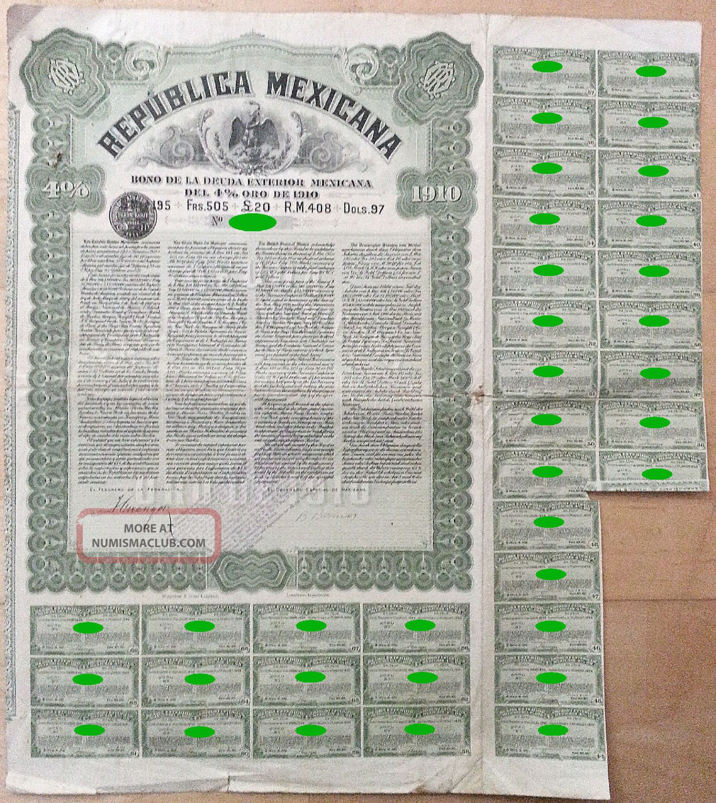 Mexico - Republica Mexicana 4 Gold Loan 20£ 1910 Stocks & Bonds, Scripophily photo