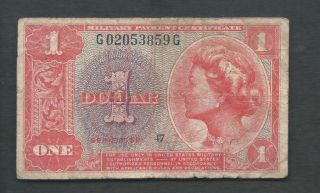United States (usa) Mpc 1961 1 Dollar Series 591 P M47 Circulated photo