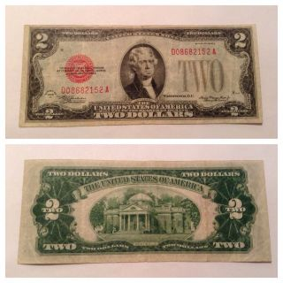 Vintage $2 1928 - D Federal Reserve Note Two Dollar Jefferson Red Seal Dollars photo