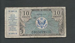 United States (usa) Mpc 1948 10 Cents Series 472 P M16 Circulated photo