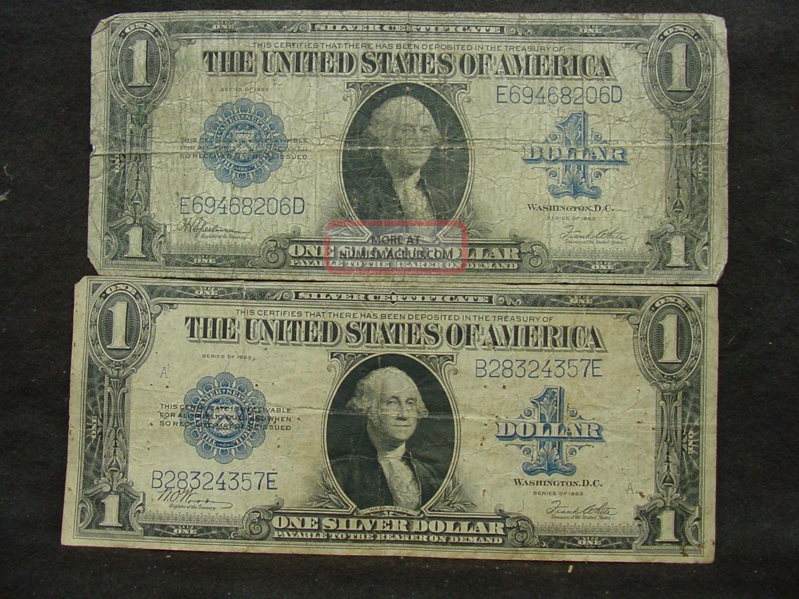 2 - 1923 Us Large Size $1 Dollar Silver Certiifacte Large Size Notes photo