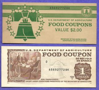 Food Stamp Coupon Usda 1977 B $1.  00 A56927729k Month Code D With End Tab photo