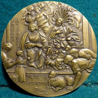 Nativity - Adoration Of The Shepherds / Child Intern.  Year 89mm 1979 Bronze Medal photo