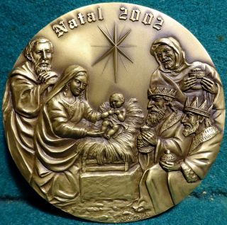 Nativity - Creche - Adoration Of The Magi 90mm X - Mas 2002 Bronze Medal In Pouch photo