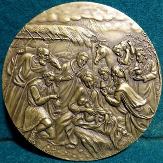 Nativity - Adoration Of The Magi X - Mas / Angel 99mm 2004 Bronze Medal In Pouch photo