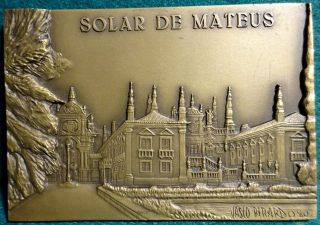 Mateus Palace 99x70mm 1980 Bronze Plaque Medal photo