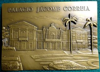 Palace Jacome Correia In Azores - S.  Miguel 98x69mm 1981 Bronze Plaque Medal photo