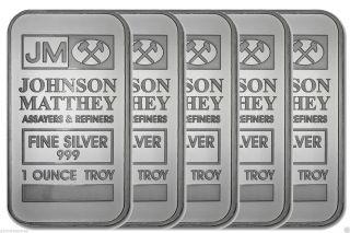 Five Jm Johnson Matthey Fine Silver 999 1 Ounce Troy Bar photo