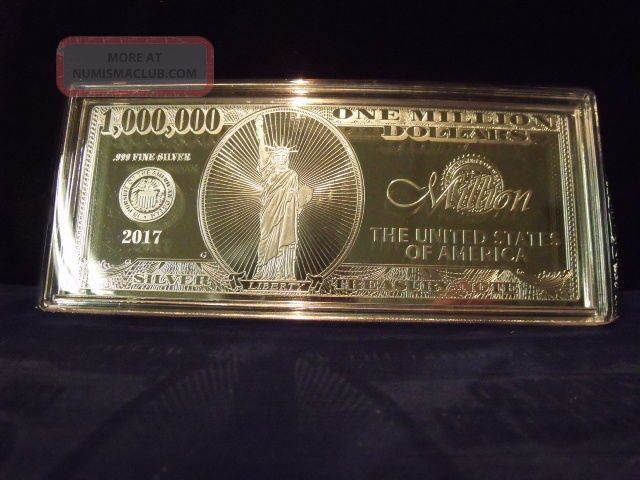 2017 4 Troy Ounce 999 Fine Silver One Million Dollar Note