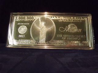 2017 4 Troy Ounce.  999 Fine Silver One Million Dollar Note $1,  000,  000 Here photo