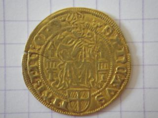 Gold Florin Utrecht Bishop David De Bourgogne 1455 - 1496 Trésor De Bazas 3.  38 G photo