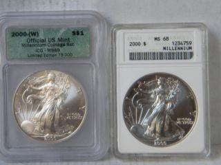 2 Silver Eagle 2000 Millennium 1oz.  999 Fine Silver photo